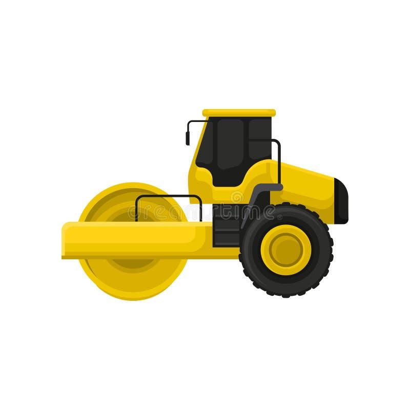 黄色压路机平的传染媒介象  工程学有重的路辗的机动车 机器半新roadmaking 库存例证