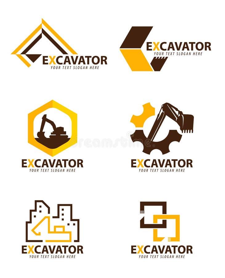 黄色和棕色挖掘机商标传染媒介布景 库存例证