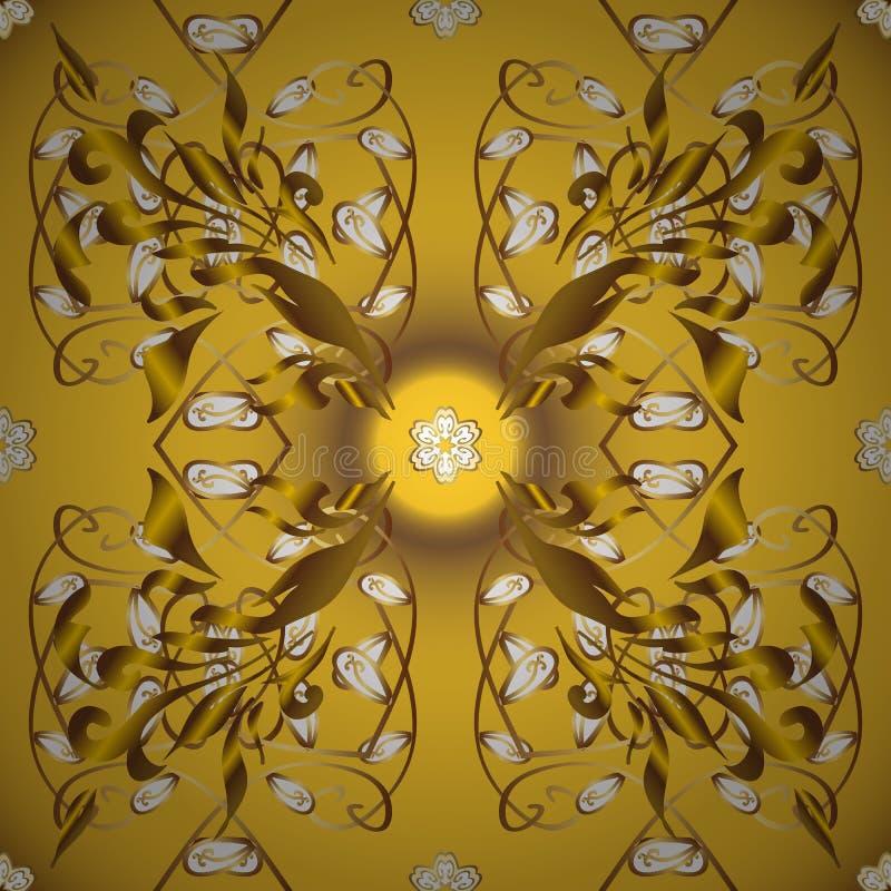 黄色和棕色,带有金色元素 库存例证
