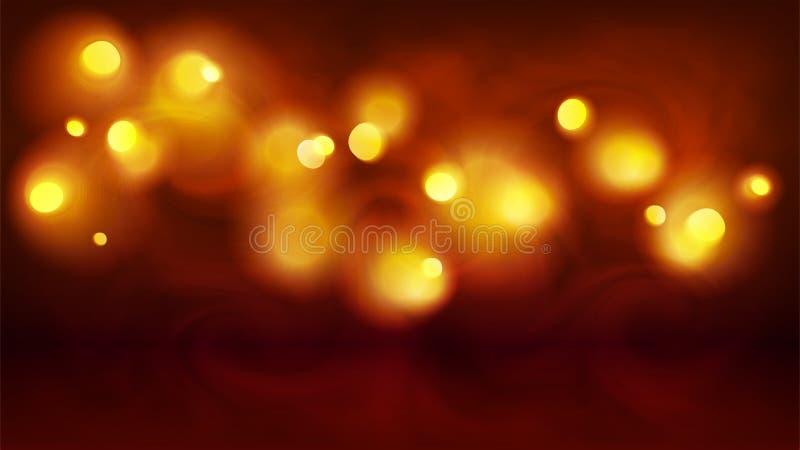 黄色和橙色不可思议的bokeh在雾,传染媒介假日摘要背景点燃 库存例证
