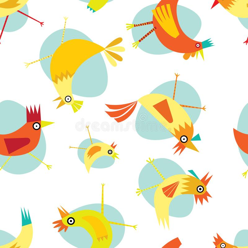 黄色和橙色鸡的五颜六色的无缝的重复样式在白色和浅兰的背景的 皇族释放例证