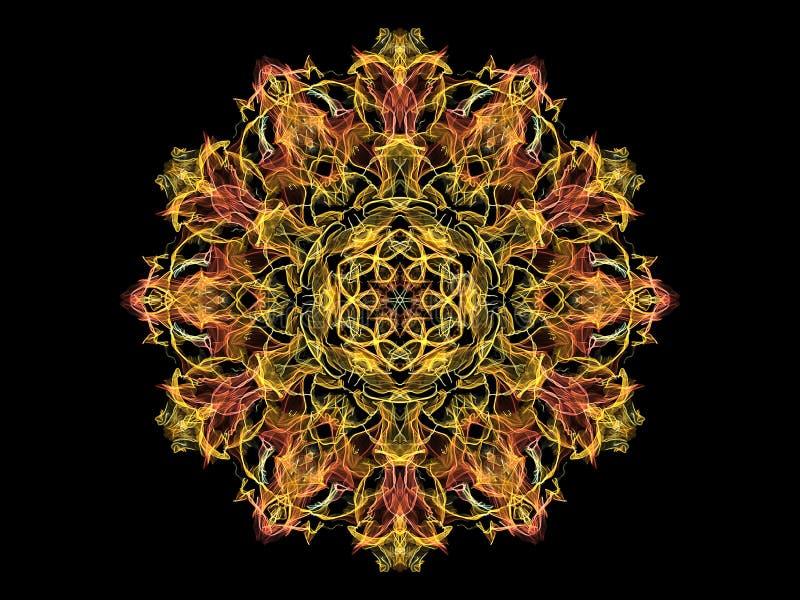 黄色和珊瑚抽象火焰坛场花,在黑背景的装饰花卉圆的样式 瑜伽题材 库存例证