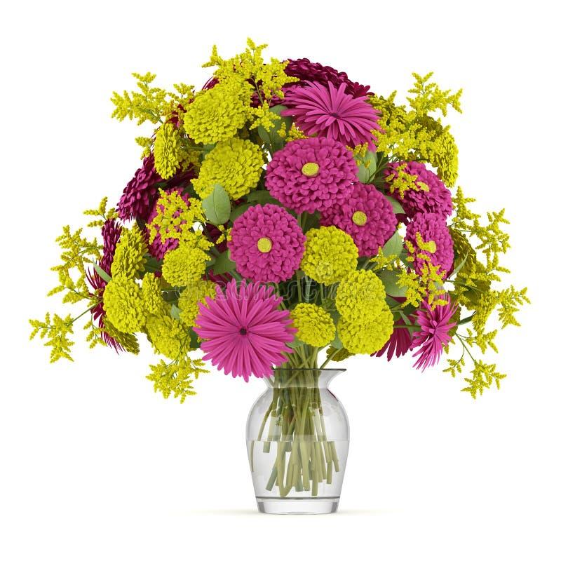 黄色和紫色花花束在白色查出的花瓶的 库存例证