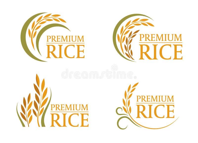 黄色和绿色稻优质米商标标志4样式传染媒介设计 向量例证