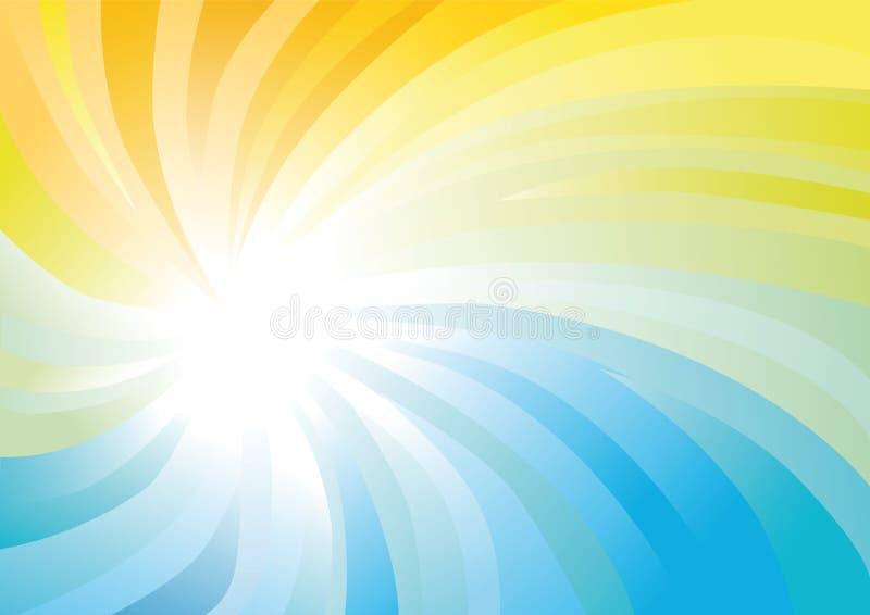 黄色和蓝色抽象漩涡 库存例证