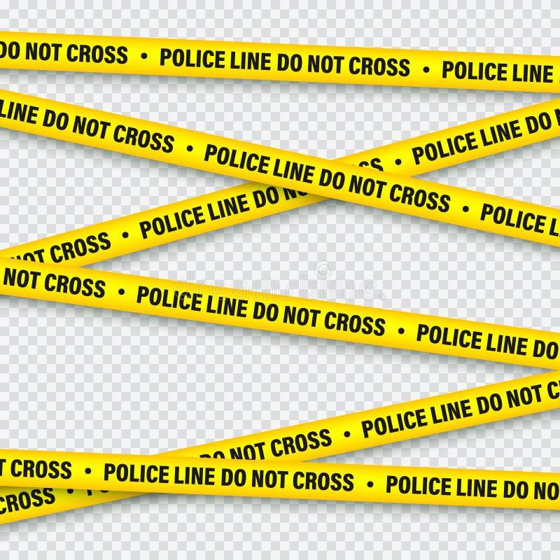 黄色和黑护拦建筑磁带 警察警告线 明亮地色的危险或危险条纹 ?? 向量例证