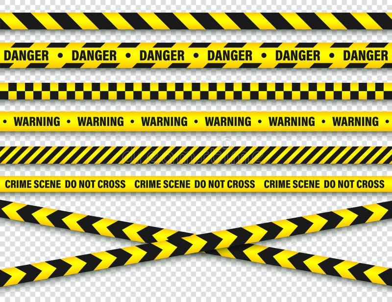 黄色和黑护拦建筑磁带 警察警告线 明亮地色的危险或危险条纹 ?? 库存例证