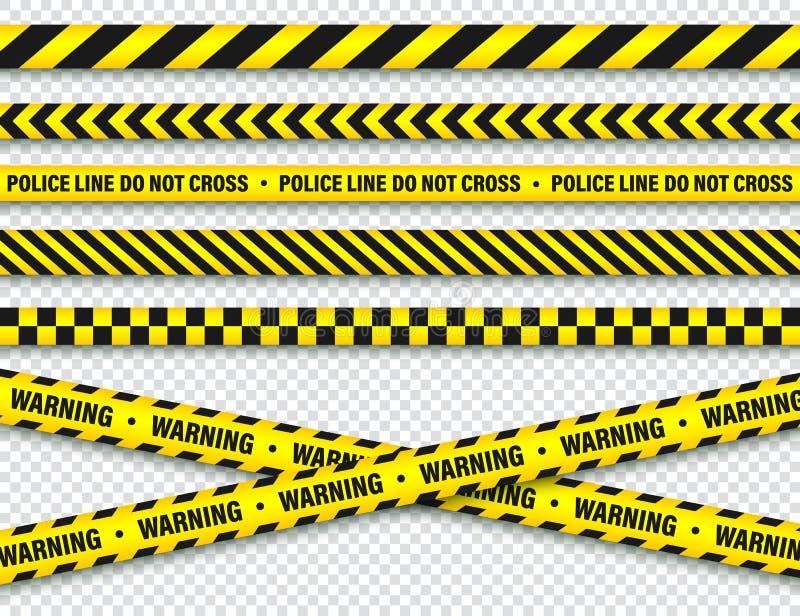 黄色和黑护拦建筑磁带 警察警告线 明亮地色的危险或危险条纹 ?? 皇族释放例证