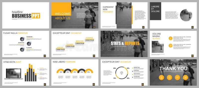 黄色和黑色业务演示文稿幻灯片模板 向量例证