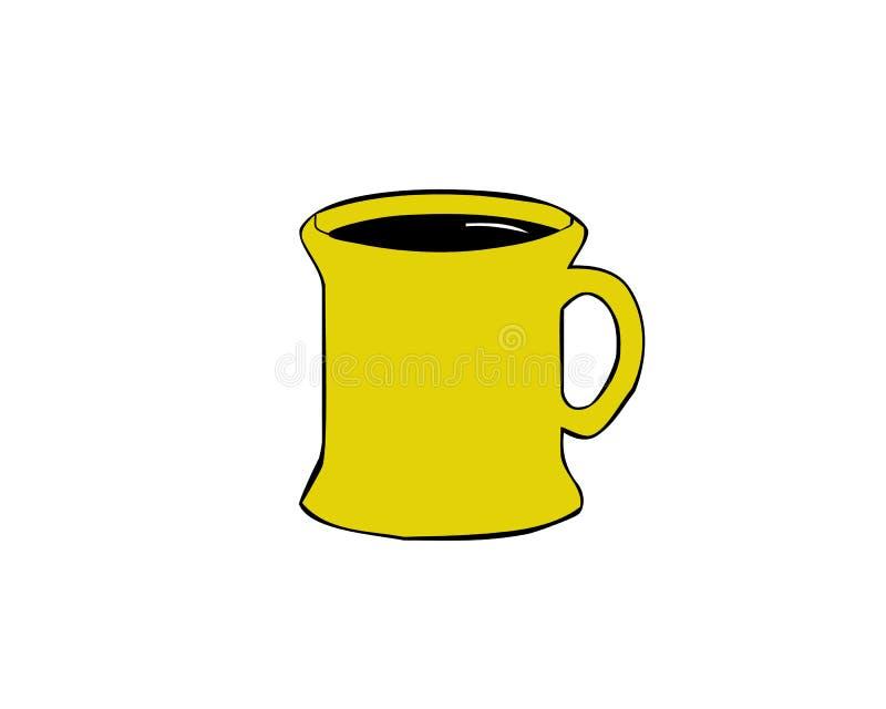 黄色咖啡象 黄色咖啡的平的例证 在空白背景的向量图标 库存例证
