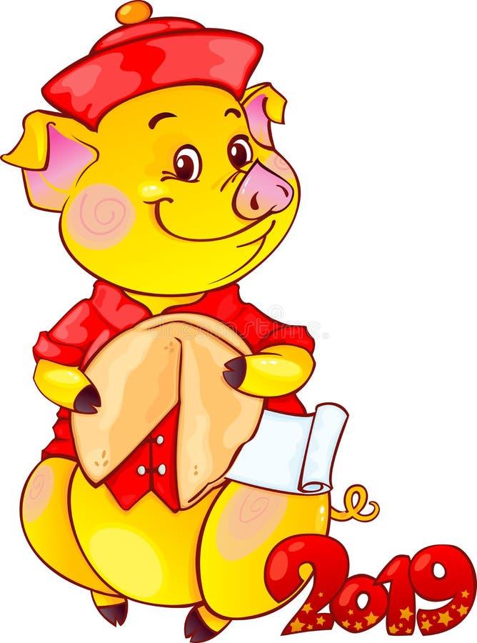黄色土质猪用签饼新年2019年 剪切 图库摄影