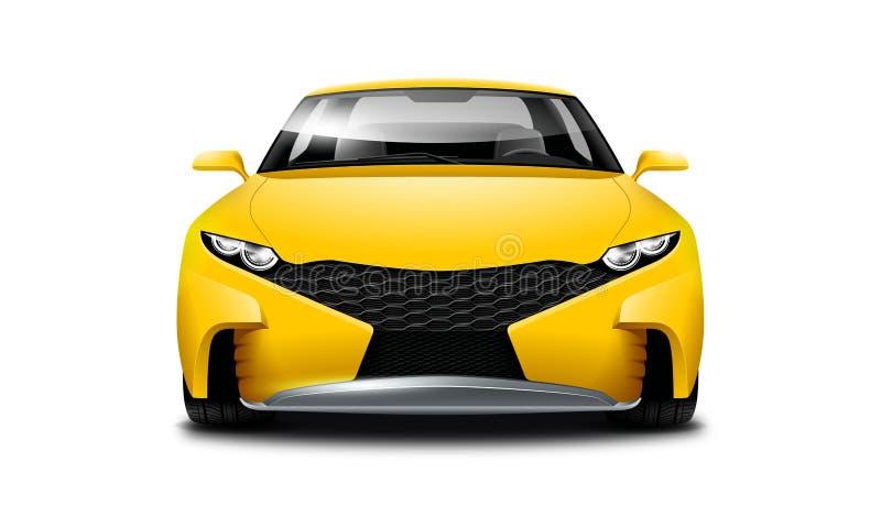 黄色在白色背景的小轿车运动的汽车 与被隔绝的道路的正面图 库存例证