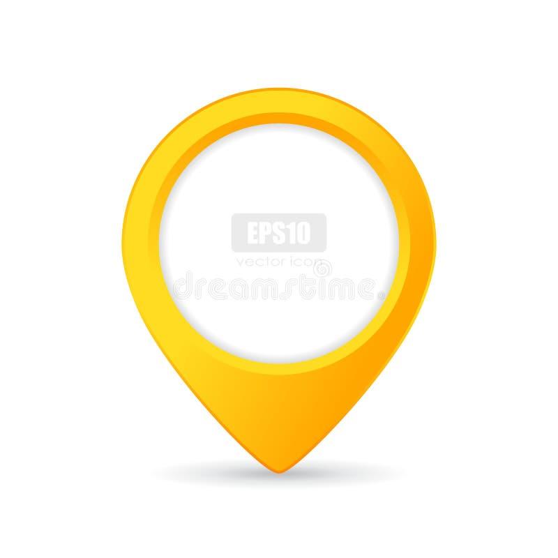 黄色地点尖传染媒介按钮 库存例证