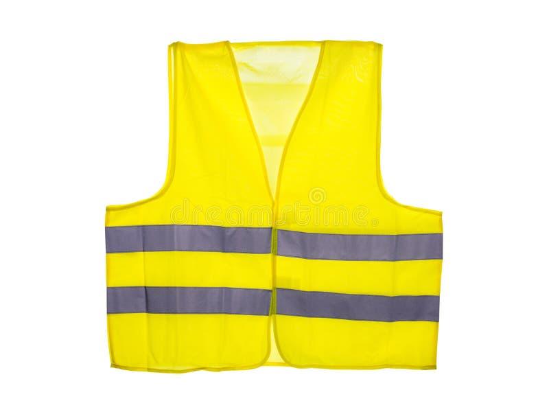 黄色安全背心,隔绝在与一个裁减路线的白色背景 库存图片