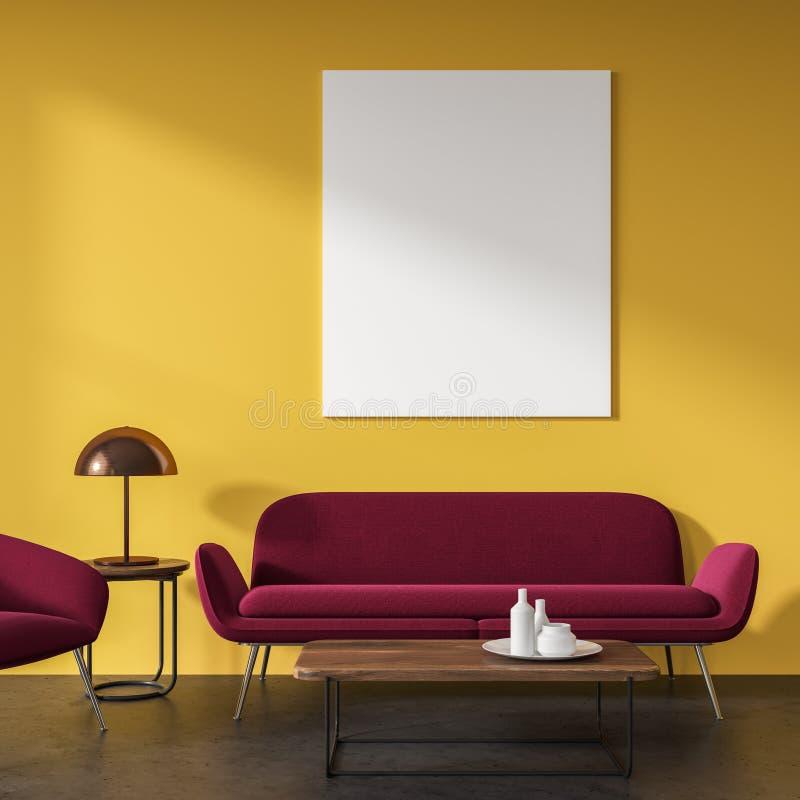 黄色客厅,红色沙发,海报 皇族释放例证