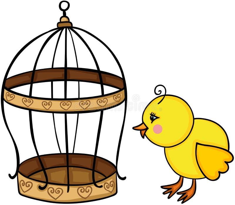 黄色小鸡和金黄鸟笼 皇族释放例证