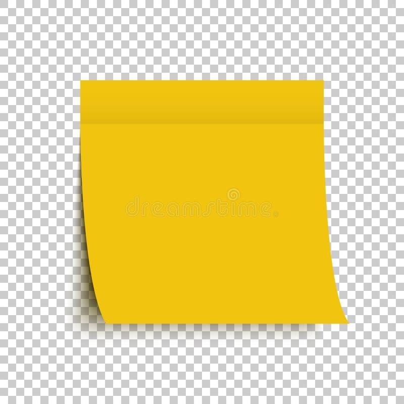 黄色岗位笔记贴纸 注意粘性 与阴影的黄色贴纸在透明背景 库存例证