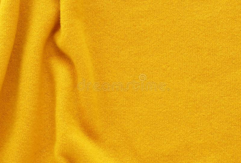 黄色开士米羊毛背景纹理,昂贵的豪华,织品, 免版税图库摄影