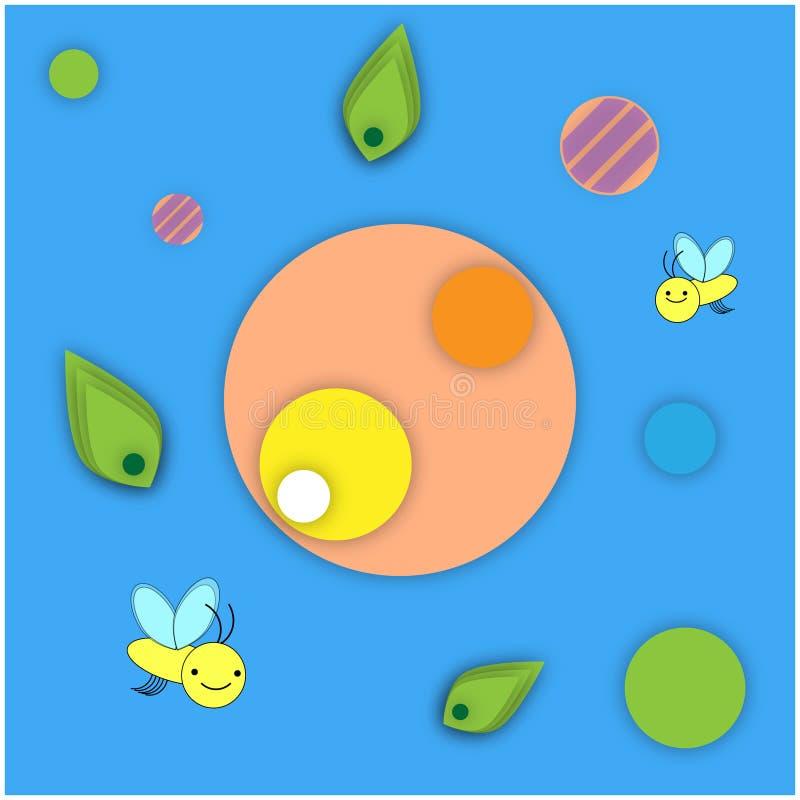 黄色微笑的蜂的传染媒介例证正面图象在蓝色背景的与以圈子的形式几何样式  皇族释放例证