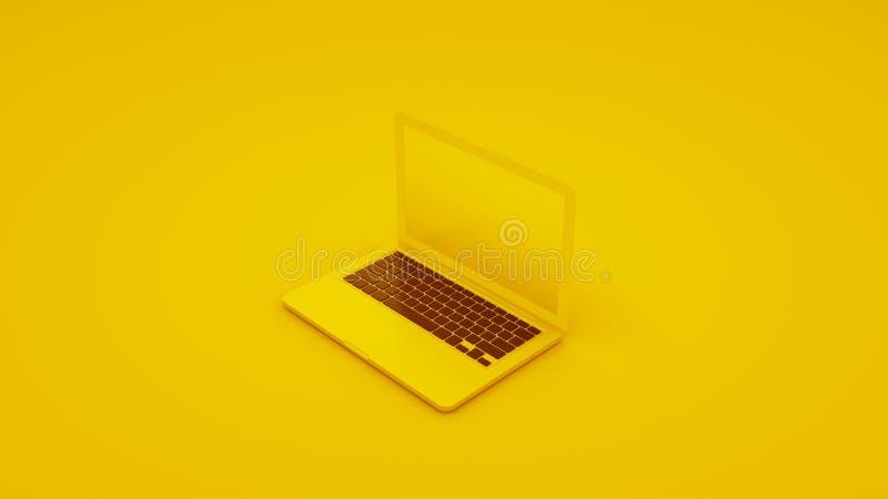 黄色手提电脑,3D例证 向量例证