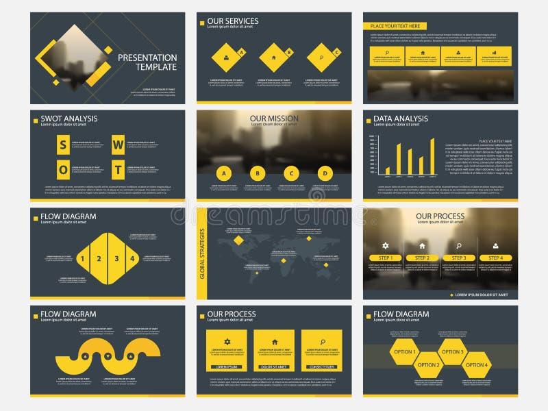 黄色抽象介绍模板, Infographic元素模板平的设计为年终报告小册子飞行物传单设置了 向量例证