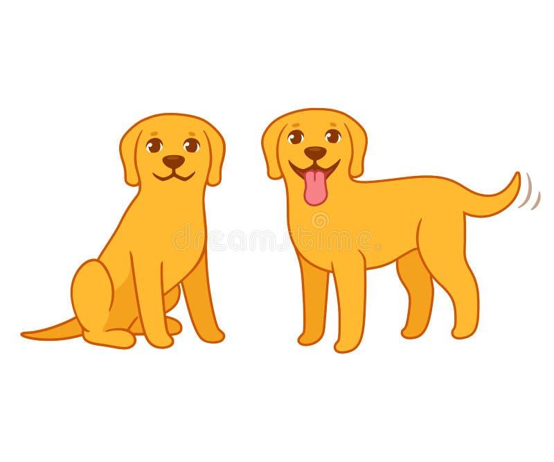 黄色拉布拉多猎犬狗 库存例证