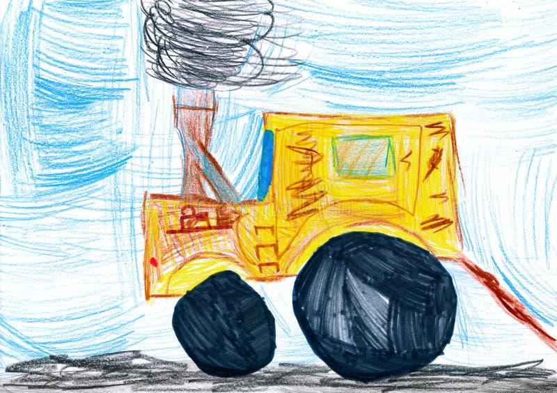黄色拖拉机。 儿童图画 皇族释放例证