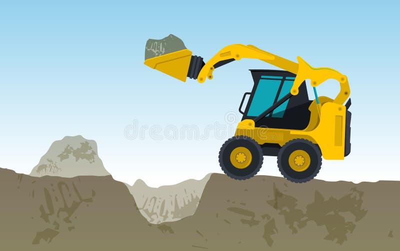黄色挖掘机开掘孔 掘泥机挖掘,地面工作 皇族释放例证