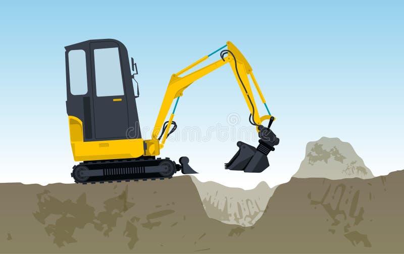 黄色挖掘机开掘孔 掘泥机挖掘,地面工作 库存例证