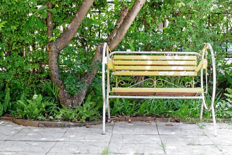 黄色摇椅在岩石地板绿色庭院舒适家 免版税库存图片