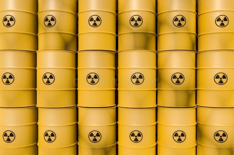 黄色放射性废物滚磨-倾销概念的核废料 向量例证