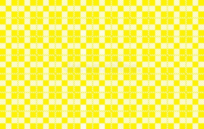 黄色方格花布样式 从菱形的纹理-格子花呢披肩的,桌布,衬衣,礼服,纸,卧具,毯子,被子和其他 皇族释放例证