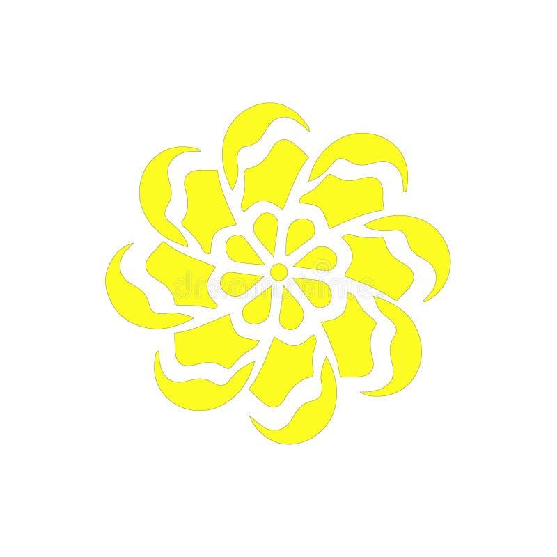 黄色春黄菊花传染媒介商标植物 葡萄酒保险开关夏天花卉图形设计元素 抽象创造性的例证 库存例证