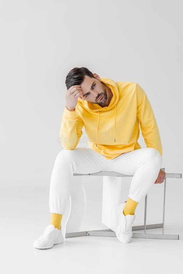 黄色有冠乌鸦的时髦的年轻人坐被翻转的椅子 图库摄影