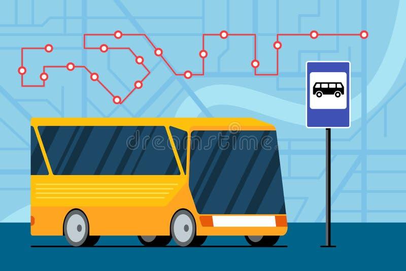黄色未来型城市交通公交车在公交站附近的地图上标示交通导航路线 向量例证