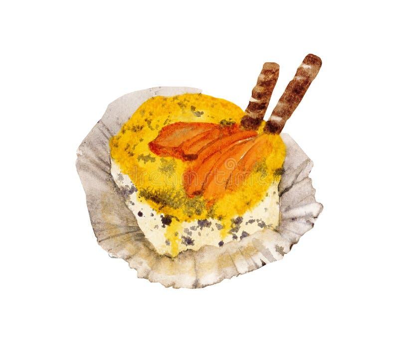 黄色杯形蛋糕水彩 皇族释放例证