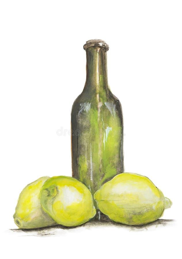 黄色柠檬水查出的柠檬和瓶 免版税库存照片
