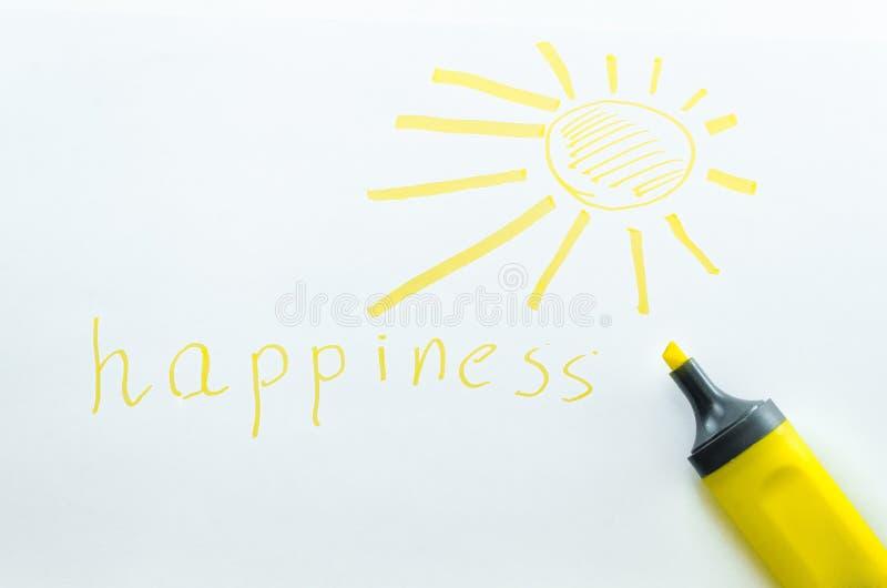 黄色标志和被绘的太阳 免版税库存图片