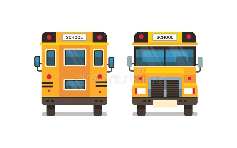 黄色校车前面背面图学生运输在平展水平白色的背景的概念 库存例证