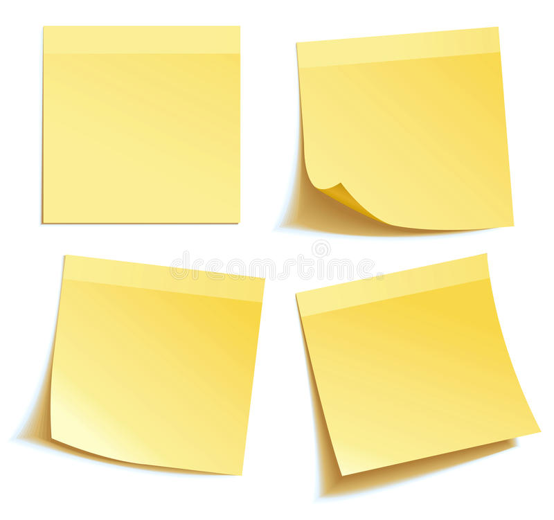 黄色棍子附注 库存例证