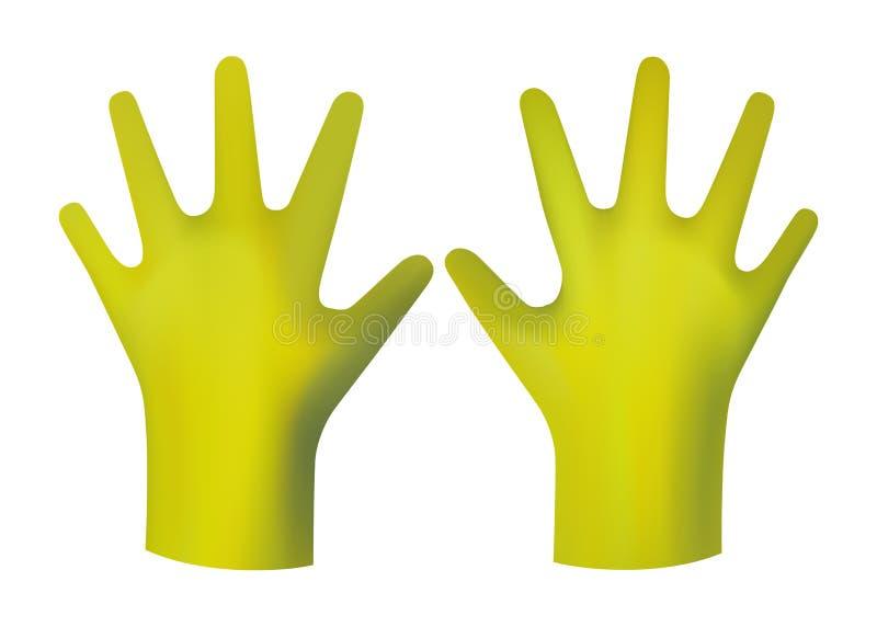 黄色橡胶手套 库存例证