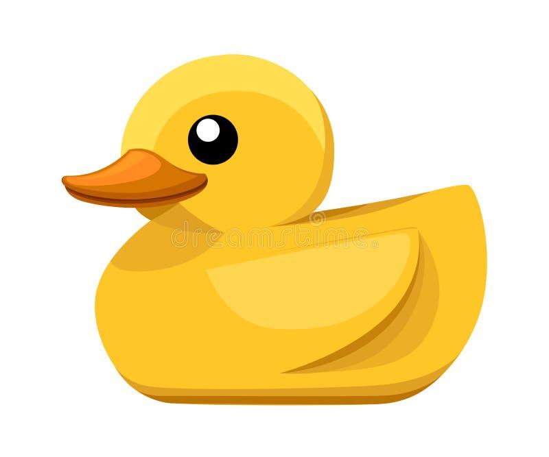 黄色橡胶鸭子 动画片逗人喜爱迷人浴的 在白色背景隔绝的平的传染媒介例证 向量例证