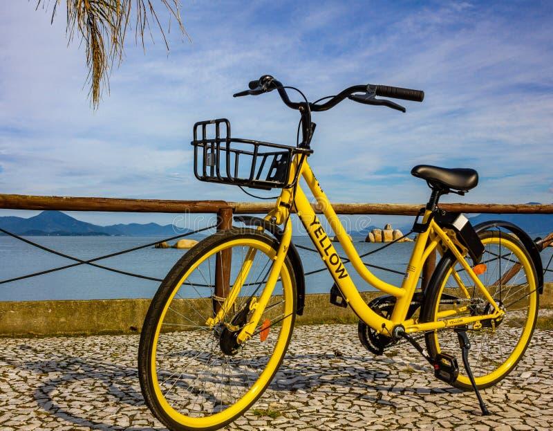 黄色水下或黄色自行车? 免版税库存照片