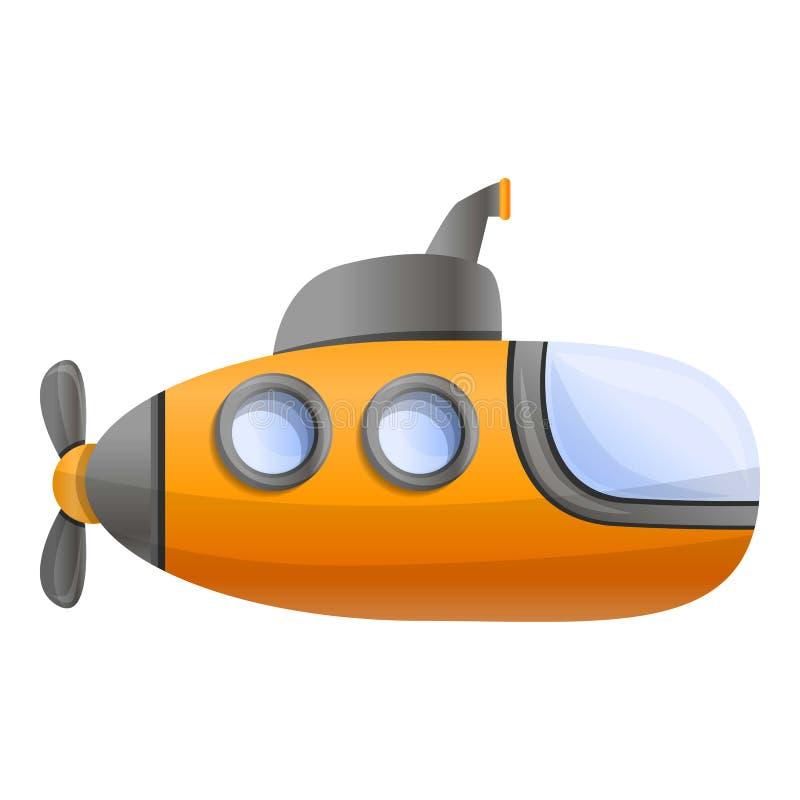 黄色水下象,动画片样式 向量例证