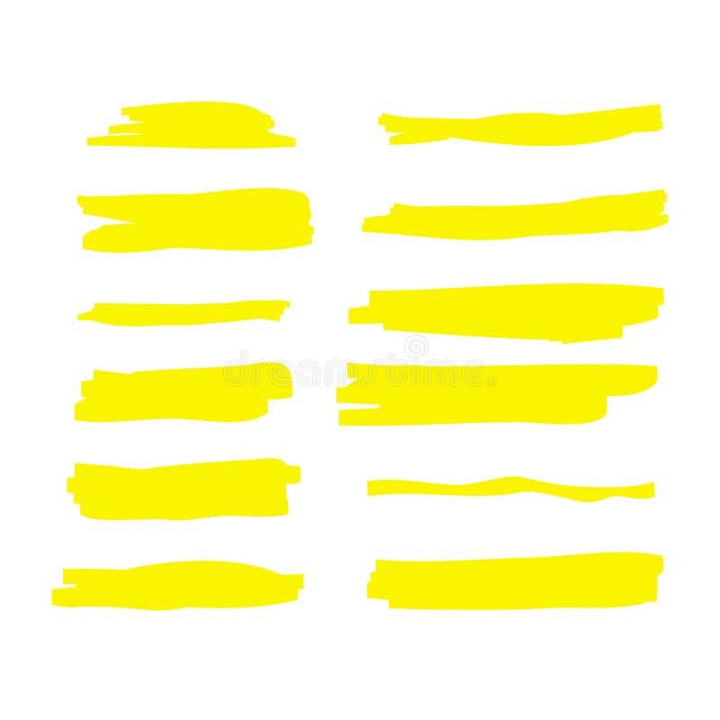 黄色水彩手拉的聚焦集合 传染媒介轮廓色_刷子线 记号笔聚焦强调冲程 皇族释放例证