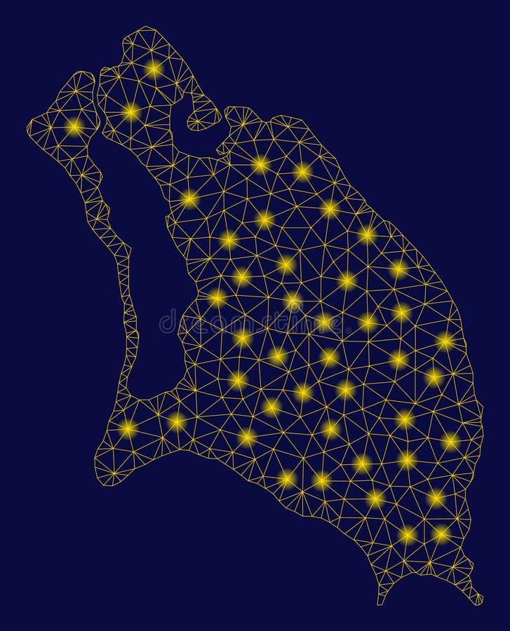 黄色滤网导线构筑巴布达与亮点的海岛地图 库存例证