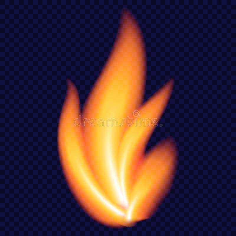 黄色火概念背景,现实样式 向量例证