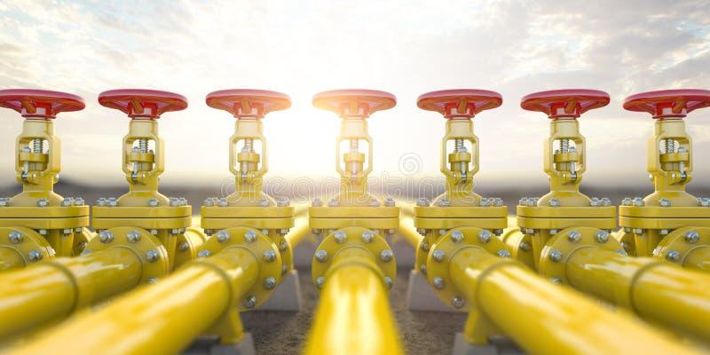 黄色煤气管线阀门 油和煤气提取、生产和运输工业背景 皇族释放例证