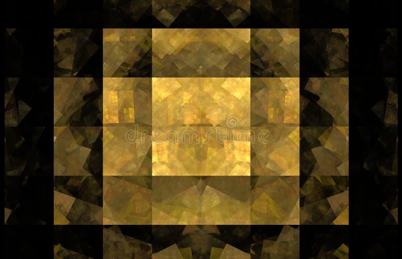 黄色瓦片分数维背景 幻想分数维纹理 abstact艺术深深数字式红色转动 3d翻译 计算机生成的图象 向量例证