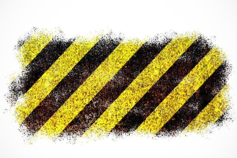 黄色的警报信号和黑条纹被绘在生锈金属片当在白色背景隔绝的纹理背景 免版税库存图片